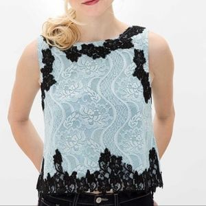 NWT Gimmicks By BKE Blue Lace Crop Top